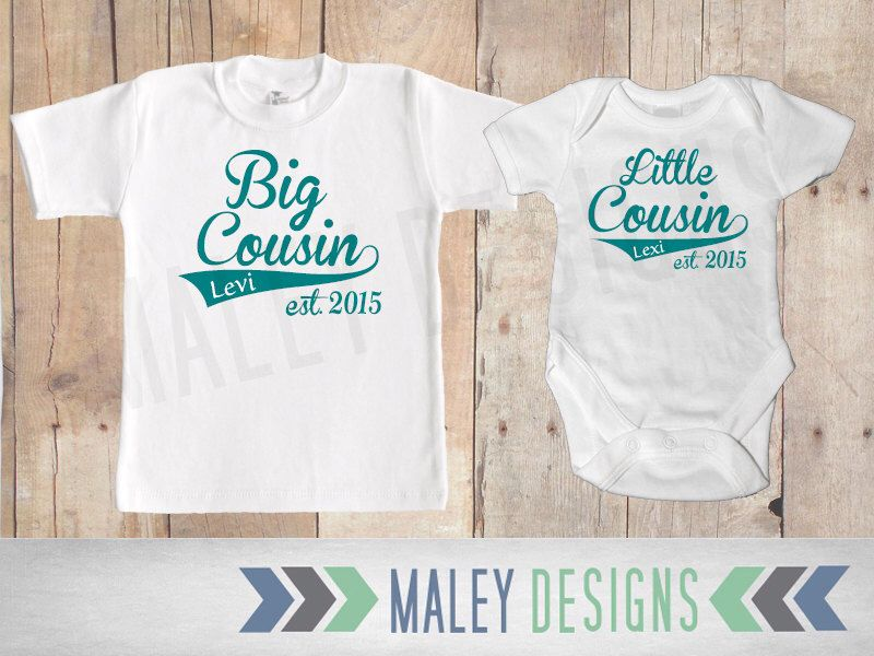 Matching Cousin Shirts / Big Cousin Little Cousin Outfits / Personalized Set of Two / Coordinating Cousin Outfits by MaleyDesigns on Etsy https://www.etsy.com/listing/227884900/matching-cousin-shirts-big-cousin-little