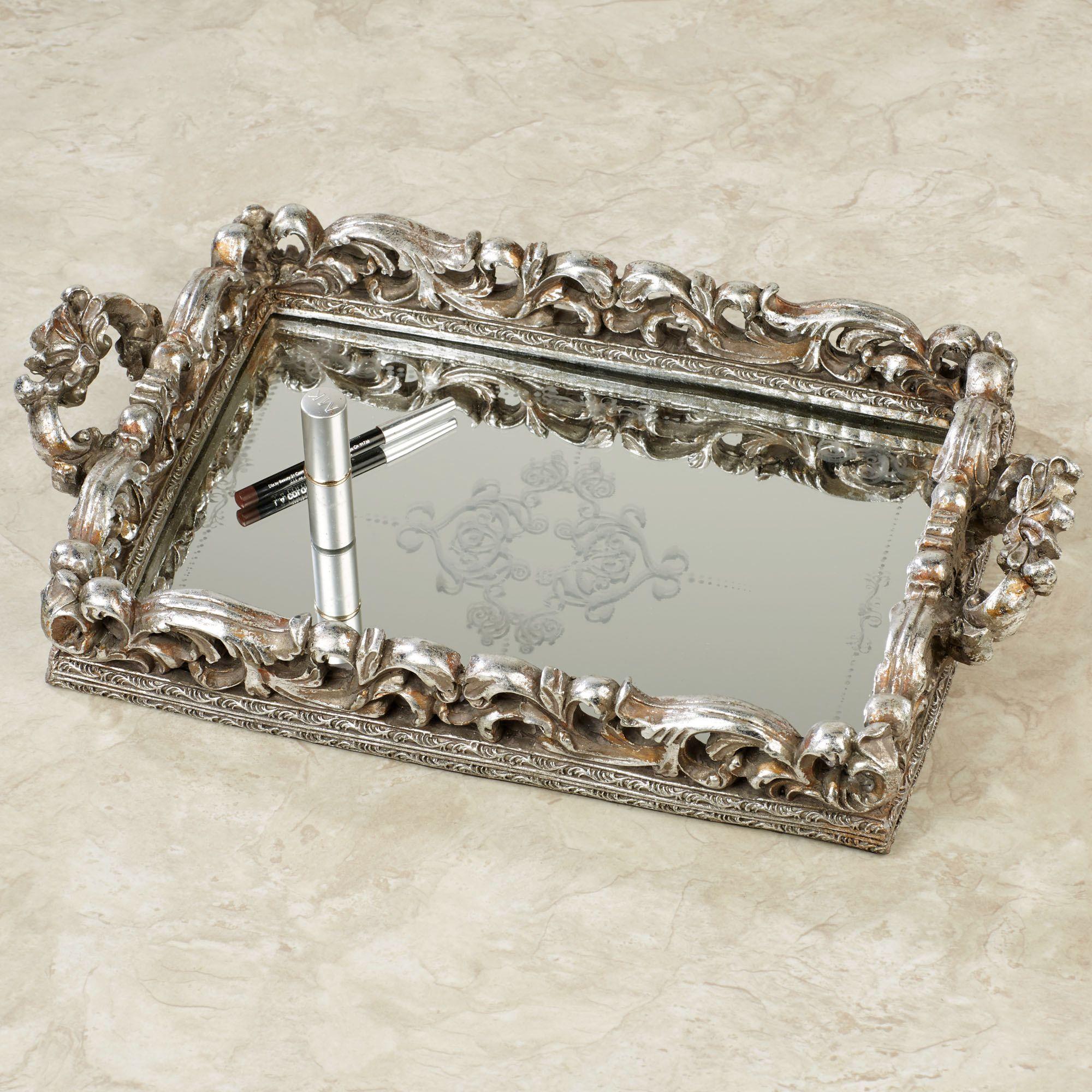 White vanity mirror vintage mirror vanity tray vintage mirrored - Elaine Antique Silver Mirrored Vanity Tray