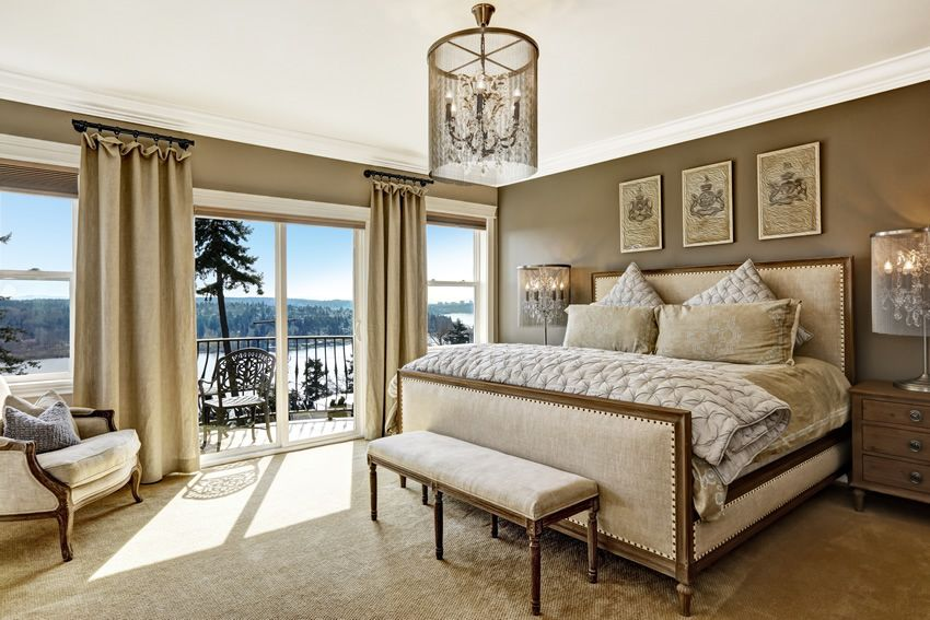 Master bedroom with amazing lake forest view