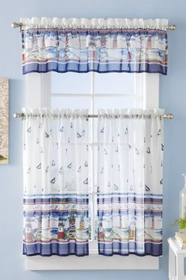 3 Pc Lighthouse Cafe Curtain Set With Images Cafe Curtains