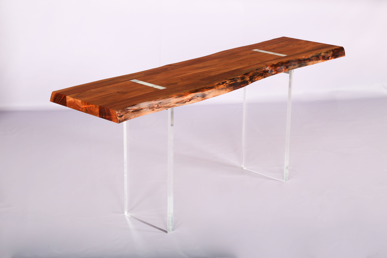 Lucite base live edge acacia wood console table acacia wood industrial furniture console