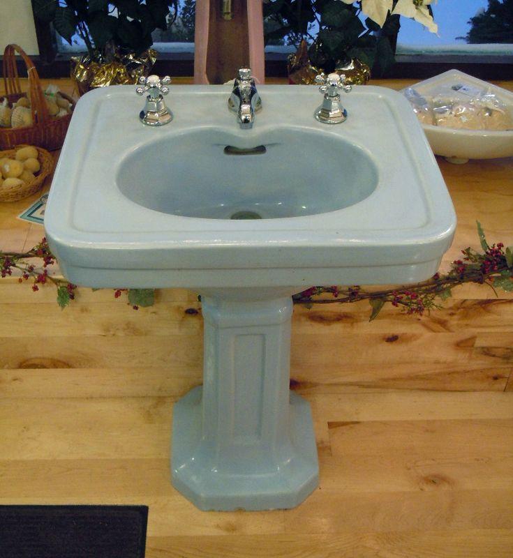 Antique Blue Pedestal Sink Pedestal Sink Sink Antique Bathroom