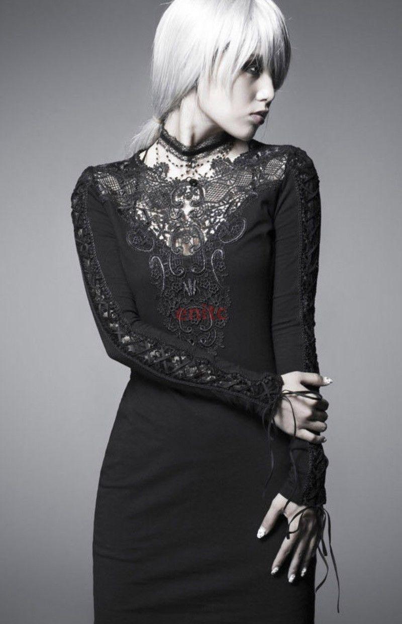 Punk gothic sexy lace black dress women tight fashion visual kei