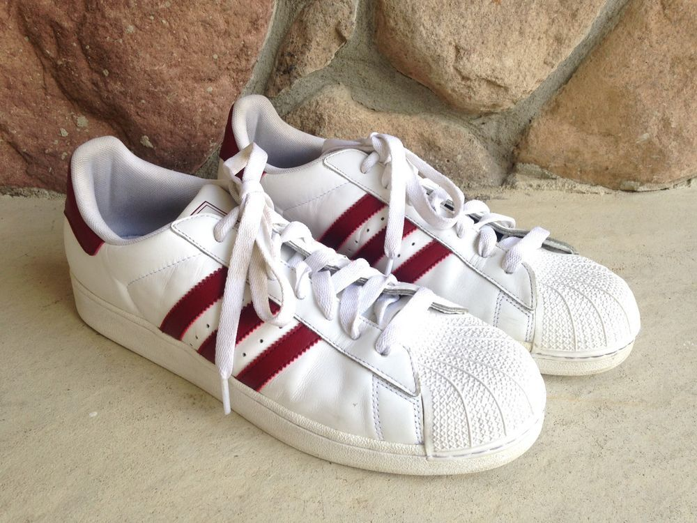 Adidas Superstar Shoes White Red size 12 Trefoil shell toe