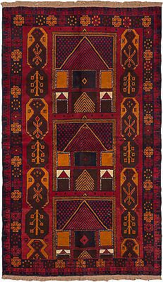 "Hand-knotted Afghan Carpet 3'8"" x 6'3"" Baluch Traditional, Tribal Red Wool Rug"