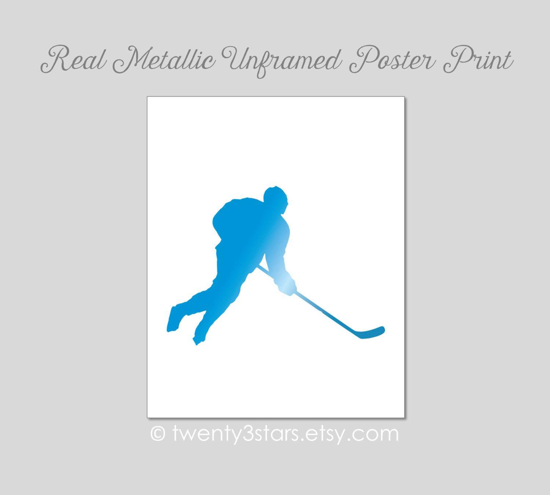 Hockey Art Print Real Metallic Ink Art Print Gold Silver Foil Unframed Custom Colors Real Gold Foil Silver Foil Hockey Pl Name Art Real Gold Foil Ink Art