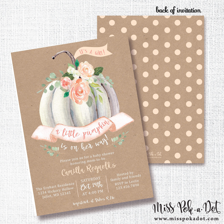 Little Pumpkin Baby Shower Invitation, Printable, Fall Shower Invite ...