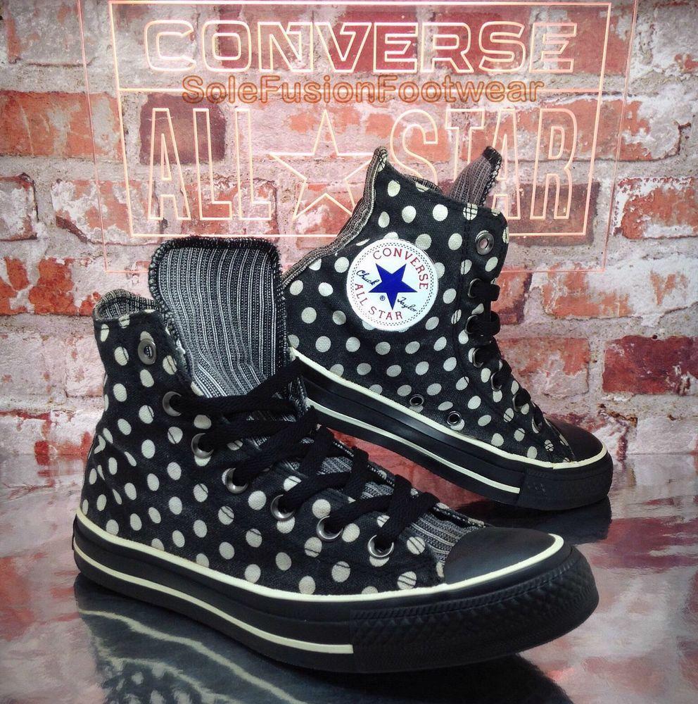 Converse womens All Star Polka Dot Shoes Black White sz 6 Vintage High Tops  39 8  f115d472d