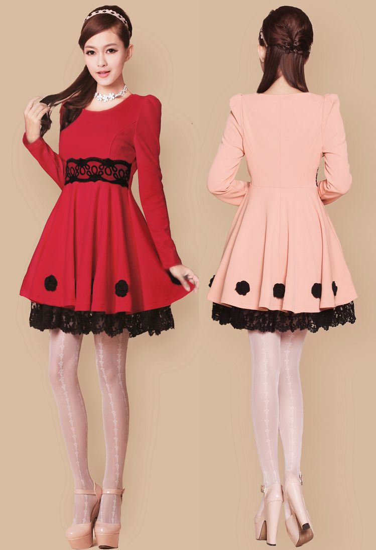 Comfortable long sleeves laciness empire waist lace dress lace