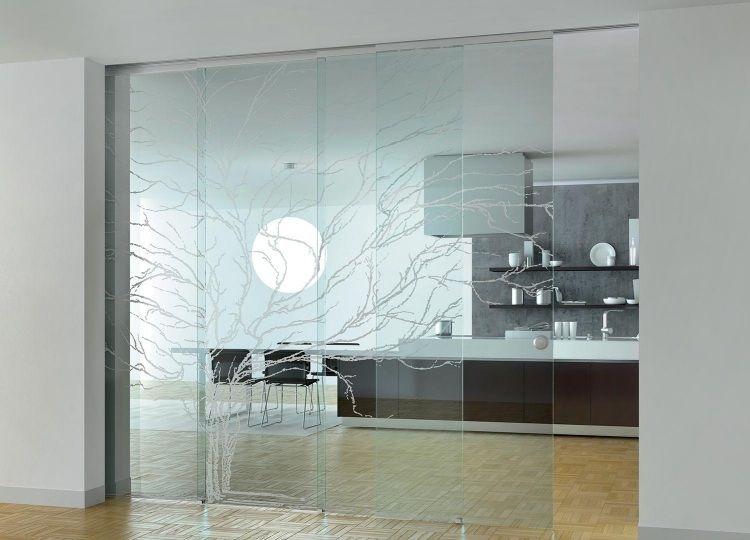 klappbare Glas Trennwand mit Baum-Motiv | Glaswand | Glastür ...