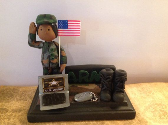 Polymer Clay Business Card Holder Us Army Lady Handmade Military