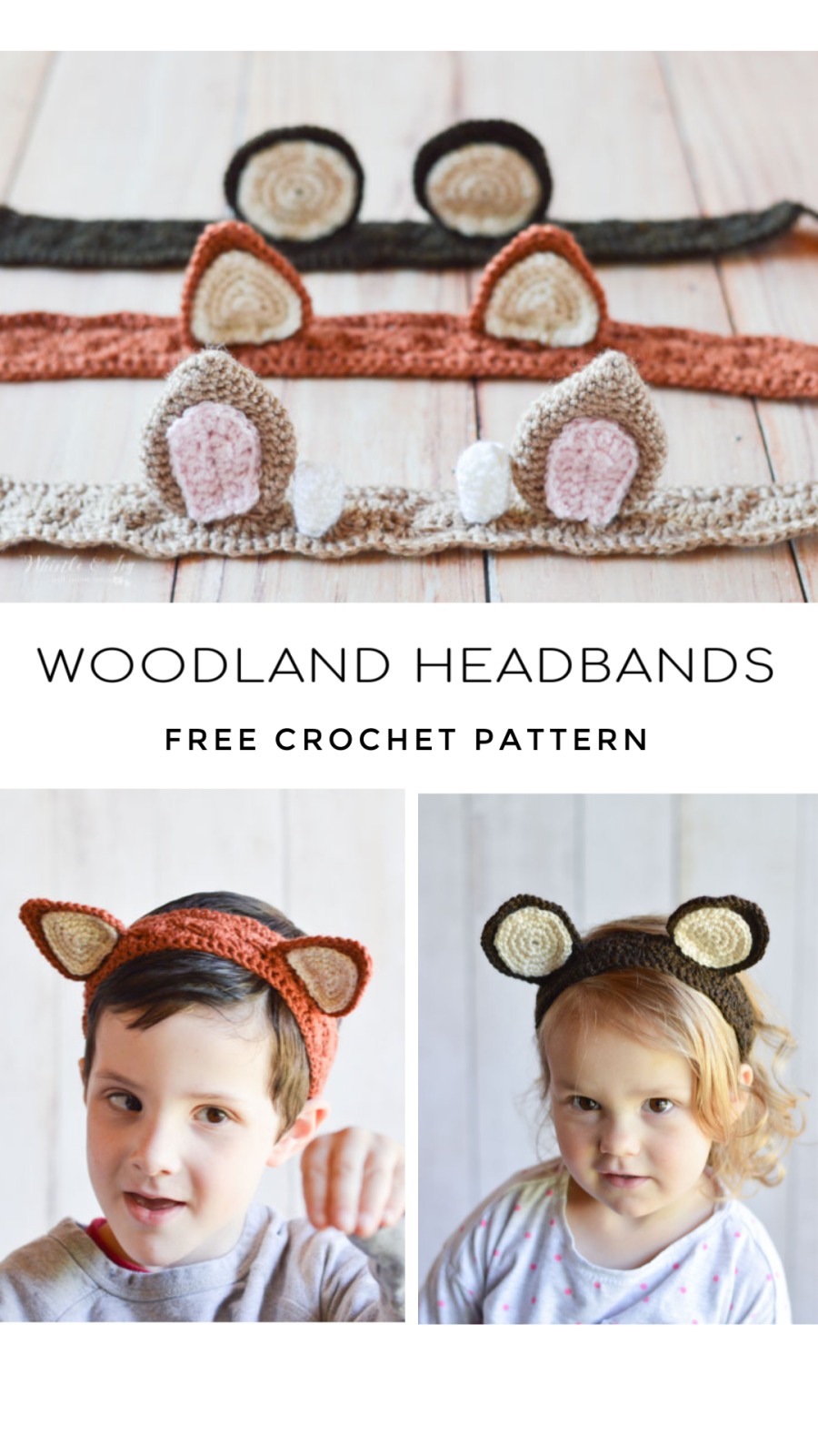 Crochet Animal Ears Headbands - Free Crochet Pattern - Whistle and Ivy #crochetanimals