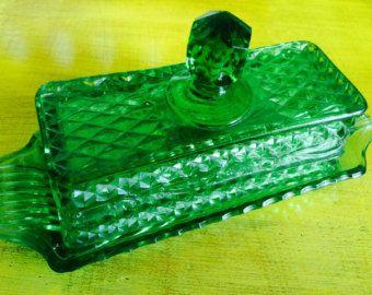 Vintage Green Glass Butter Dish Vintage Green Glass Green Glass Butter Dish