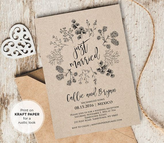 Just Married Elopement Invitation Template Printable Rustic Wedding - Party invitation template: elopement party invitation template