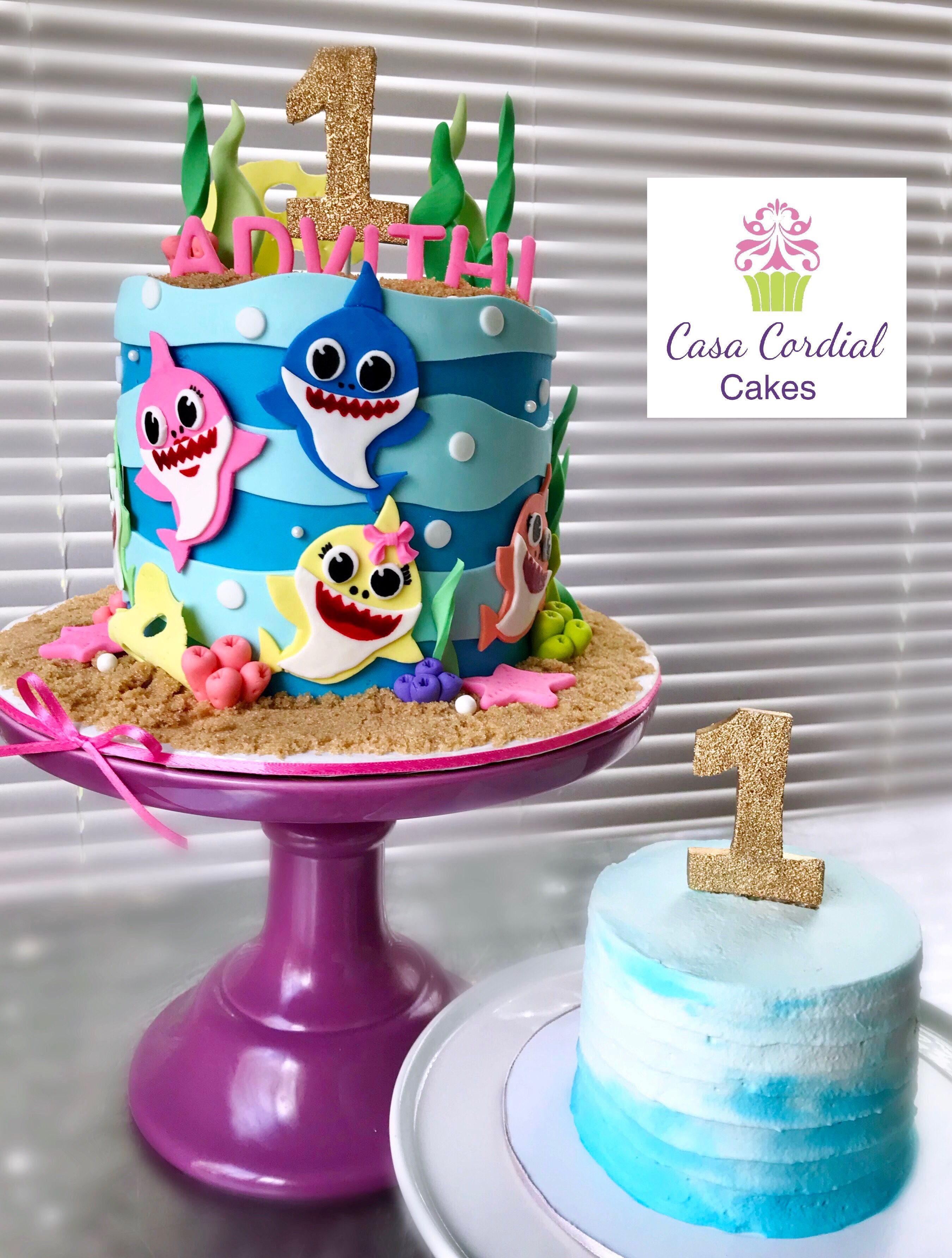 Baby Shark Cake With Images Shark Birthday Cakes Twin