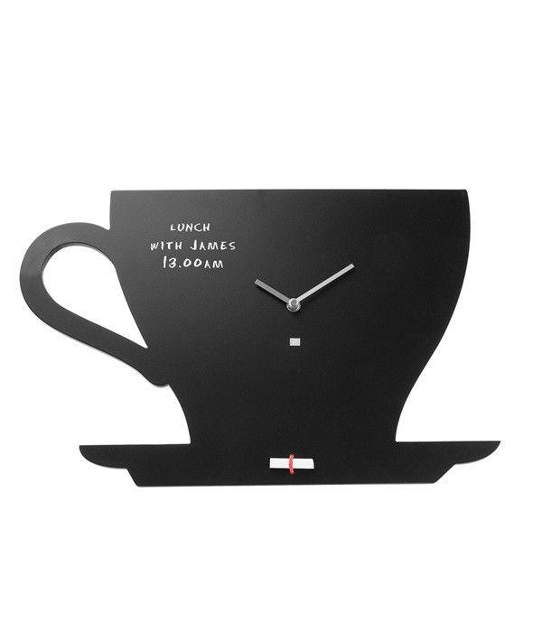 Memo Able Tea Time Chalkboard Clock Black Wall Clock Wall Clock Clock
