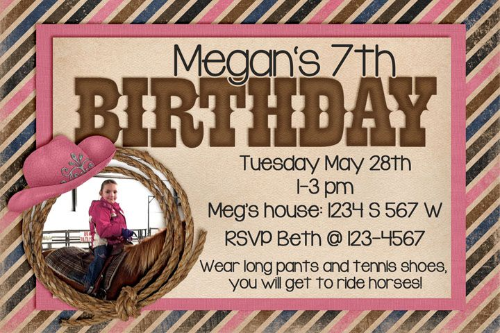 Designs By Kassie: Megans 7th Birthday | Invitation