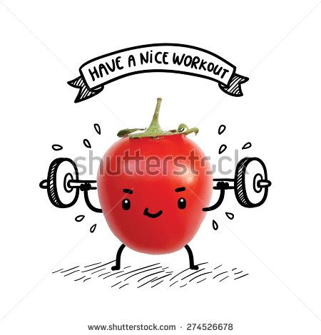 Cute tomato lifts heavy weight using barbell. Funny bodybuilder illustration. Healthy lifestyle and sport image