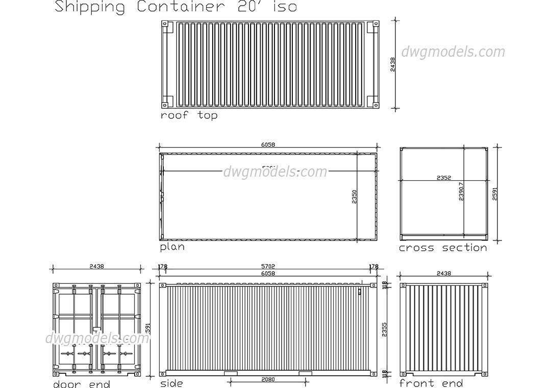 Shipping container cad blocks free dwg file for Plan container