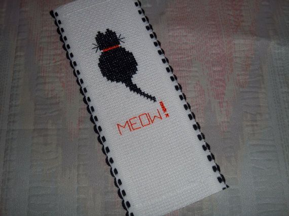 bookmark cat cross stitch MEOW by CardsandDesignsbyDeb on Etsy, $3.25