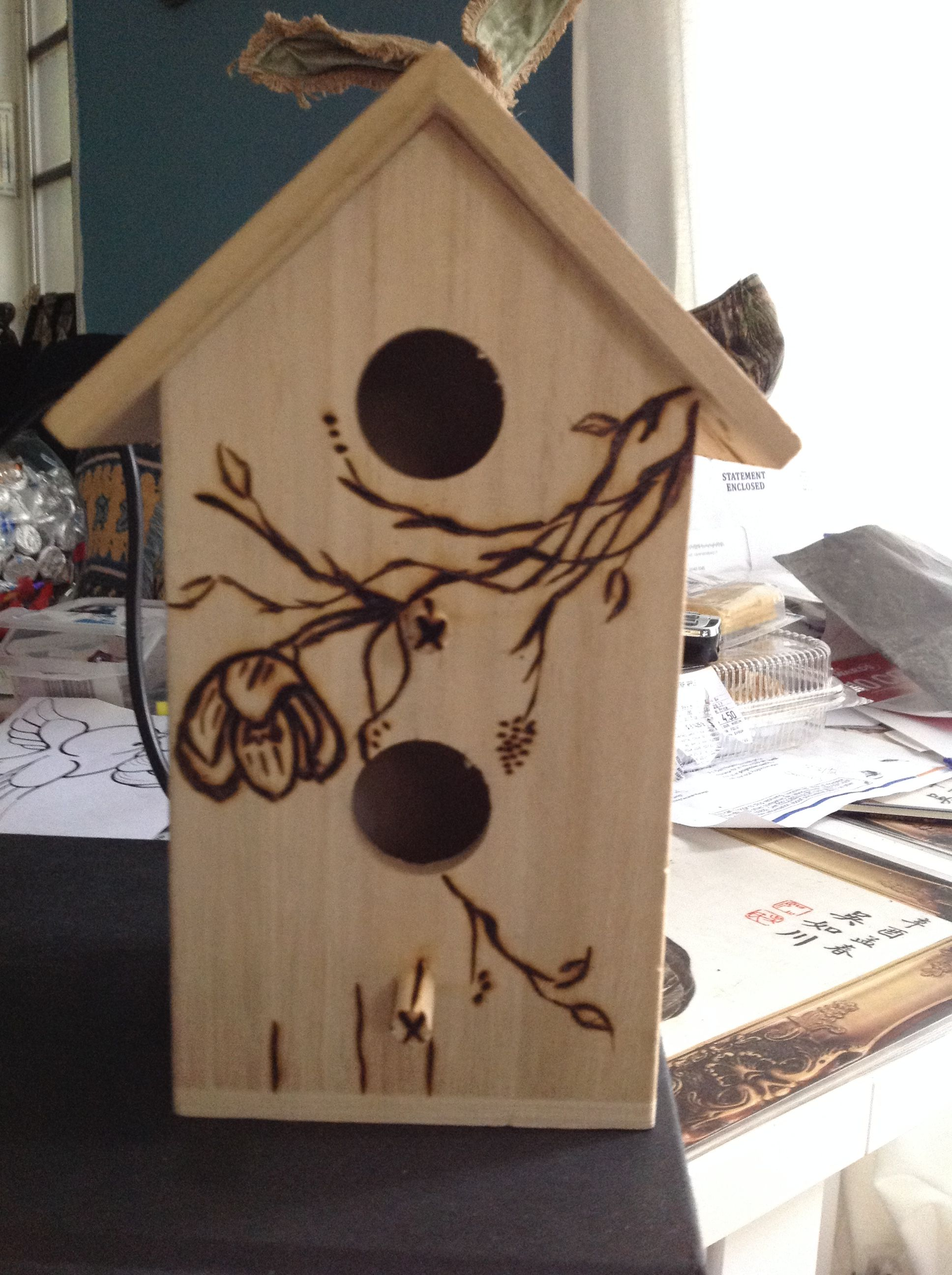 Bird House Wood Burning