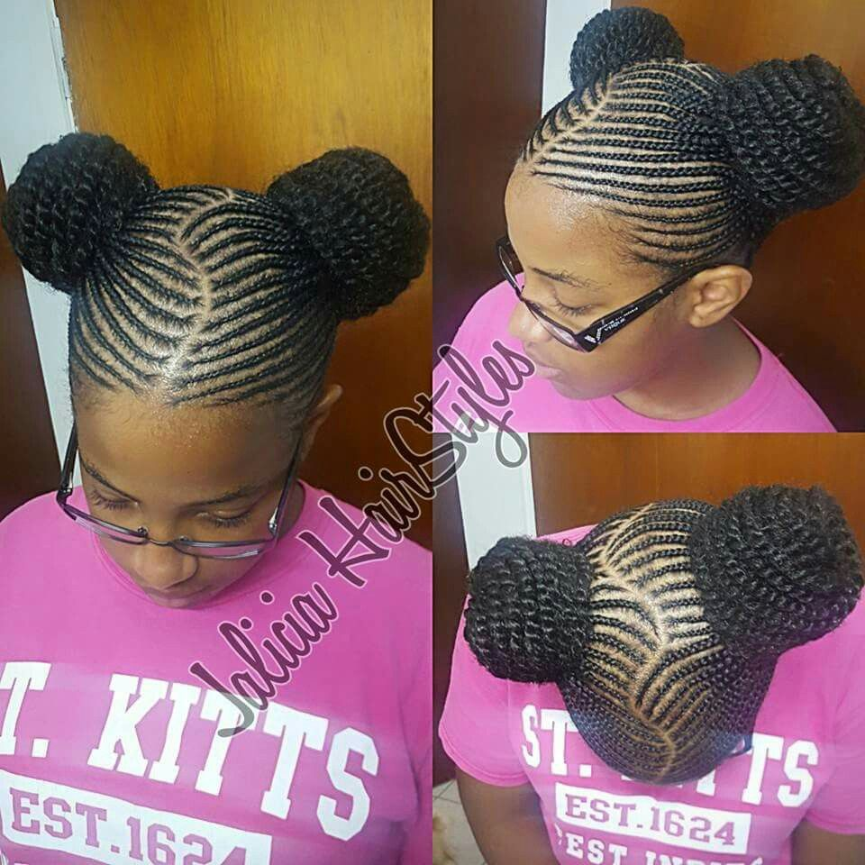 cornrows & beads using extensions (kanekalon hair) for added