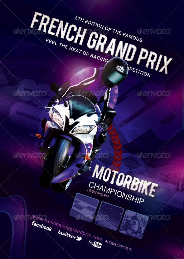 Flyer Poster French Grand Prix Moto Race   Glow, Fonts and Grand prix