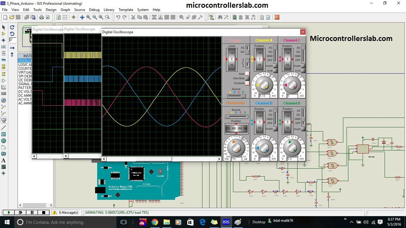 Three phase sine wave inverter circuit using Arduino