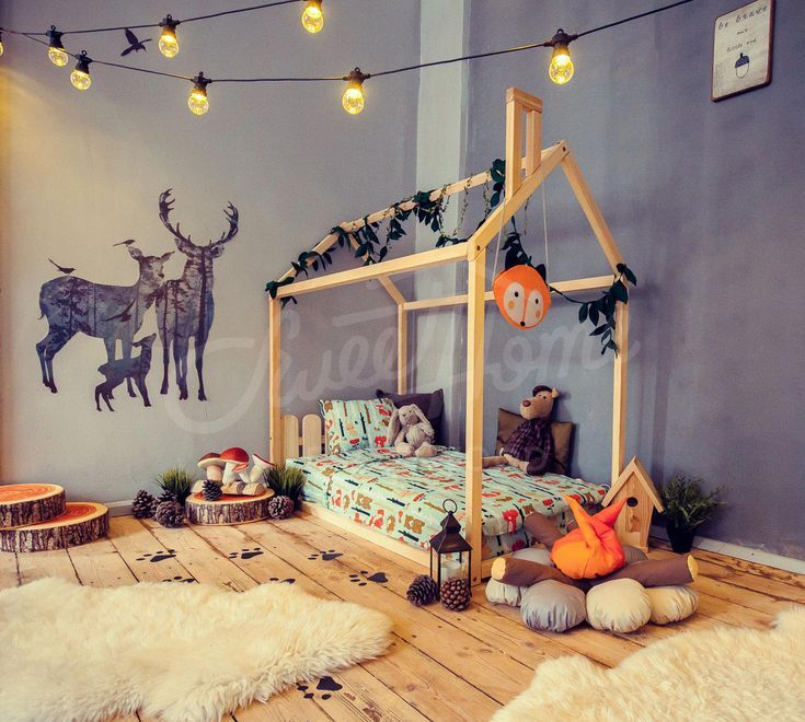 Toddler House Bed Montessori Floor Bed Teepee Bed Kid Bed Wood Bed Children Home Waldorf Toy Children Bed