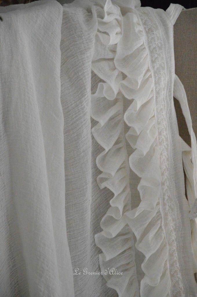 rideau shabby chic le grenier dalice rideau romantique en voile de lin iv shabby chic. Black Bedroom Furniture Sets. Home Design Ideas