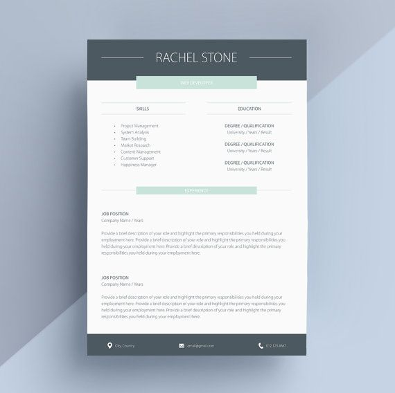 Professional Resume Template, Cover Letter, CV Template, Simple