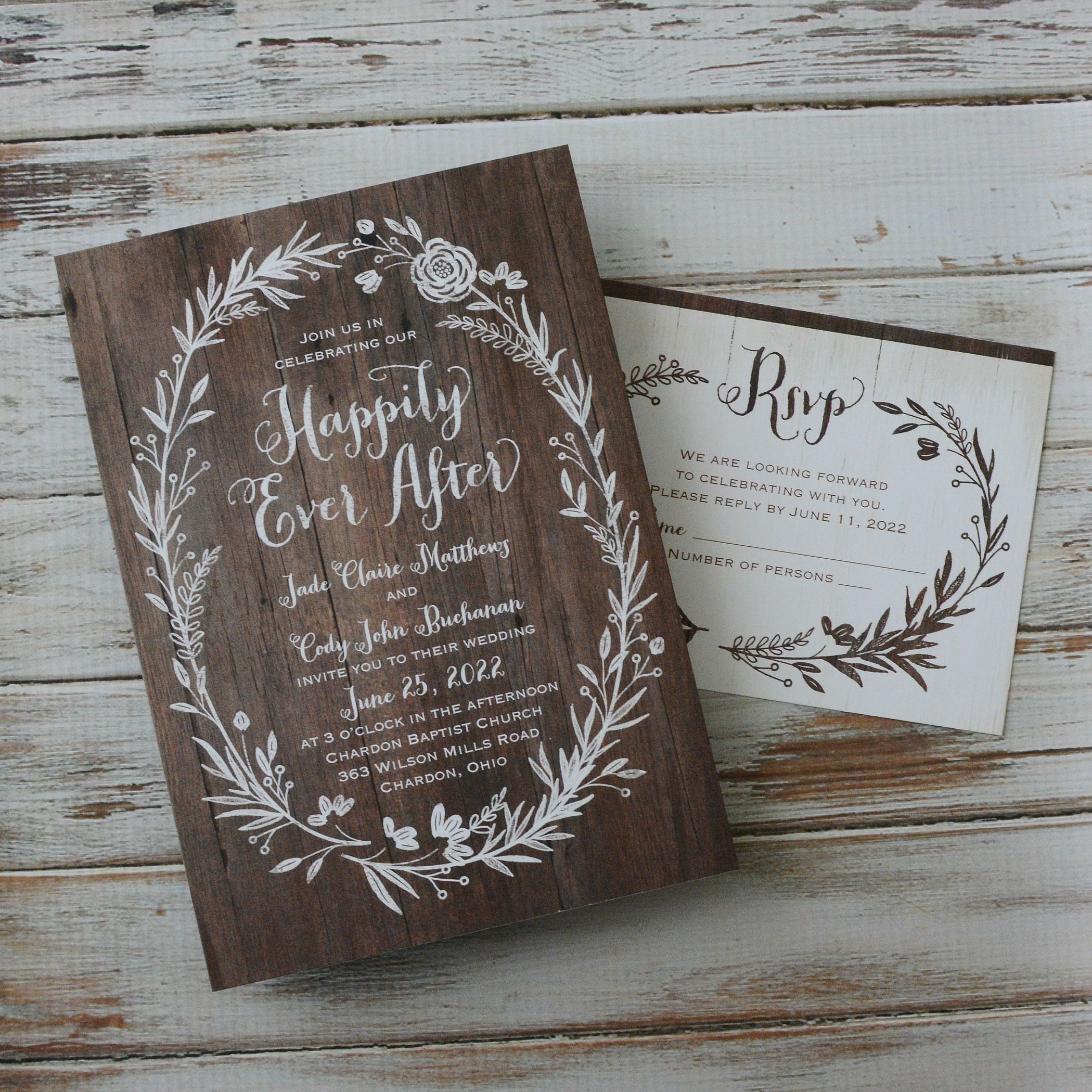 Ever After Invitation With Free Response Postcard Ann S Bridal Bargains Cheap Wedding Invitations Woodsy Wedding Invitations Affordable Wedding Invitations