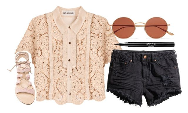 """""""Untitled #1630"""" by ibthal-hussain ❤ liked on Polyvore featuring self-portrait, Oliver Peoples, H&M, Cornetti and Stila"""