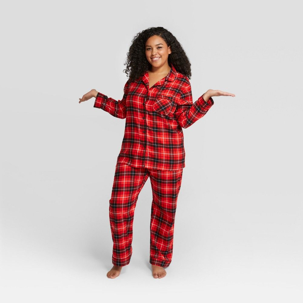 Women S Plaid Plus Size Holiday Notch Collar Pajama Set Wondershop Red 2x Orange Pajama Set Matching Family Christmas Pajamas Sleepwear