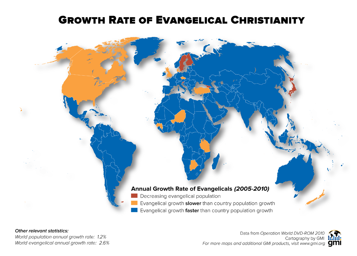 Growth Rate Of Evangelical Christianity Maps Pinterest - Christianity map