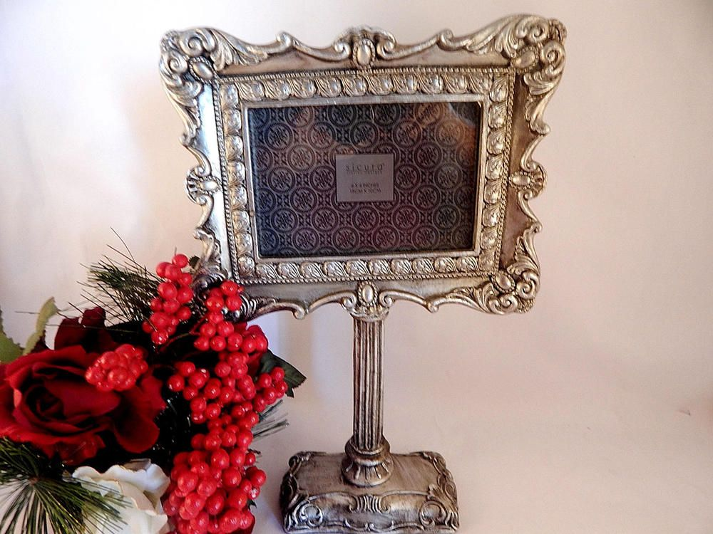 Picture Frame 6x4 Landscape Table Top Ornate Silver Gift Frame ...