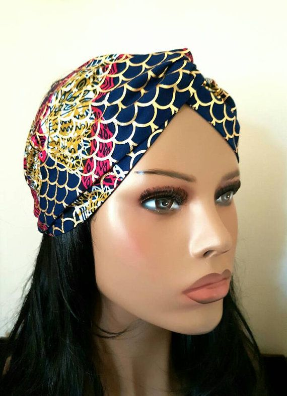 African Print Turban Headband  Ankara Wide Headband  Gold Foil Blue ... 507c5d5aa84