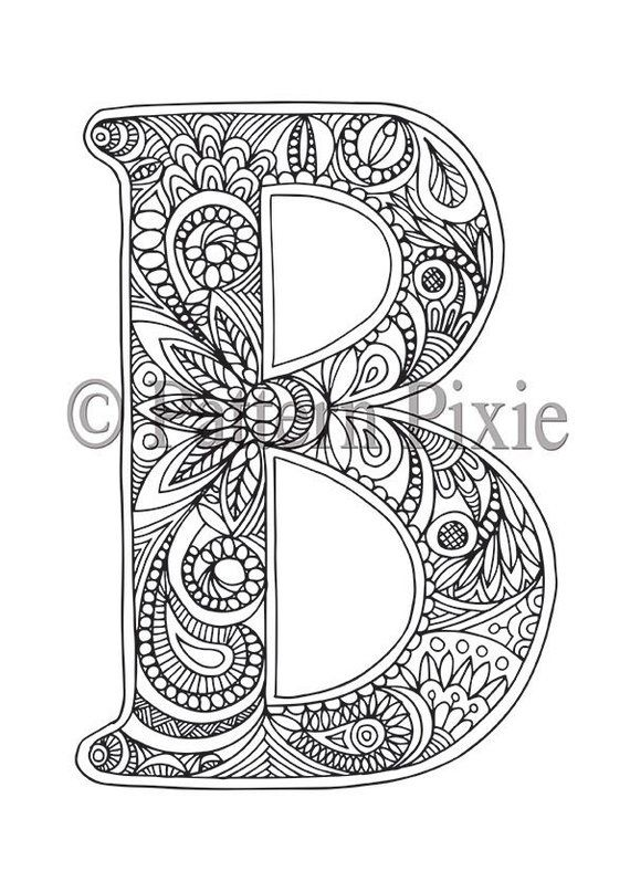 adult colouring page alphabet letter b letter designs lettering adult coloring pages. Black Bedroom Furniture Sets. Home Design Ideas