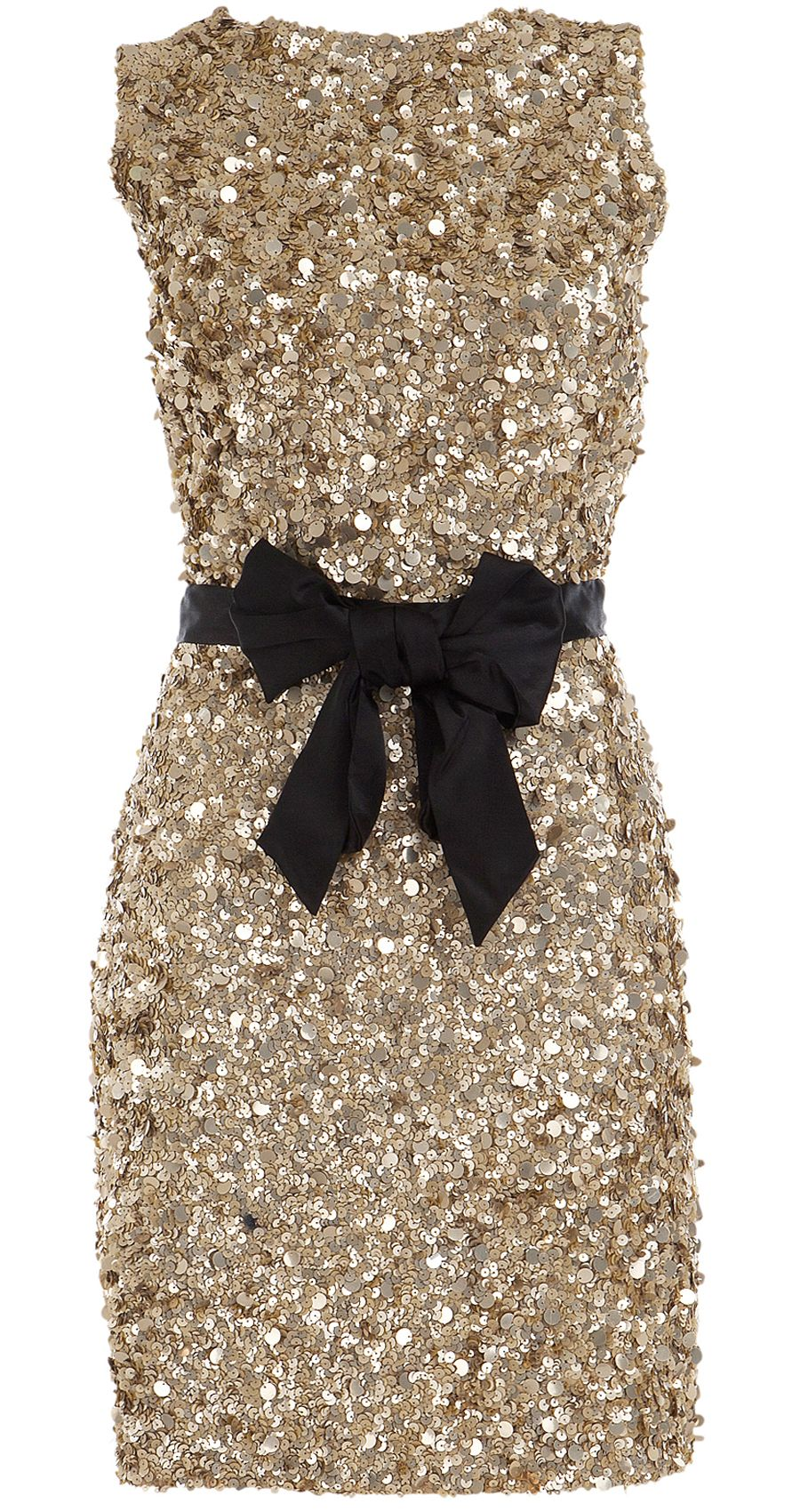 Gold sequin dress with black bow belt the perfect holiday dress