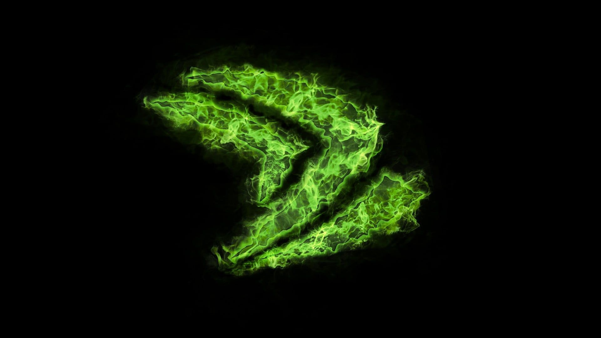 Green Wallpaper Nvidia Dark Minimalism 1080p Wallpaper