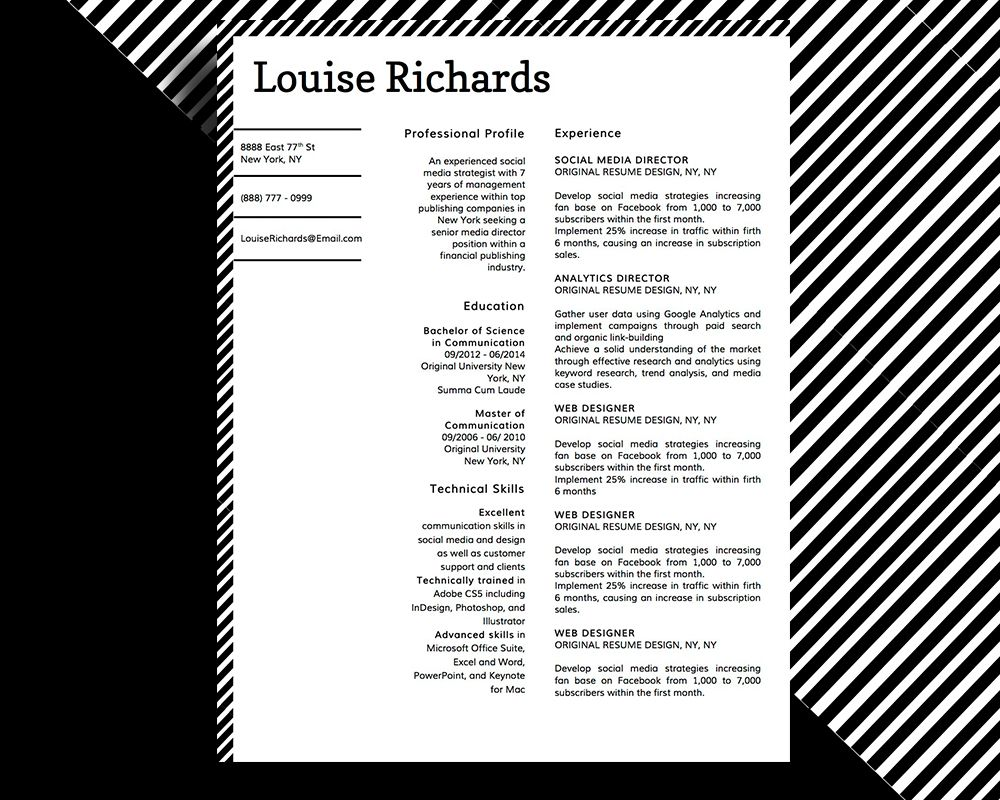 LOUISE RICHARDS MODERN PROFESSIONAL RESUME TEMPLATE FOR