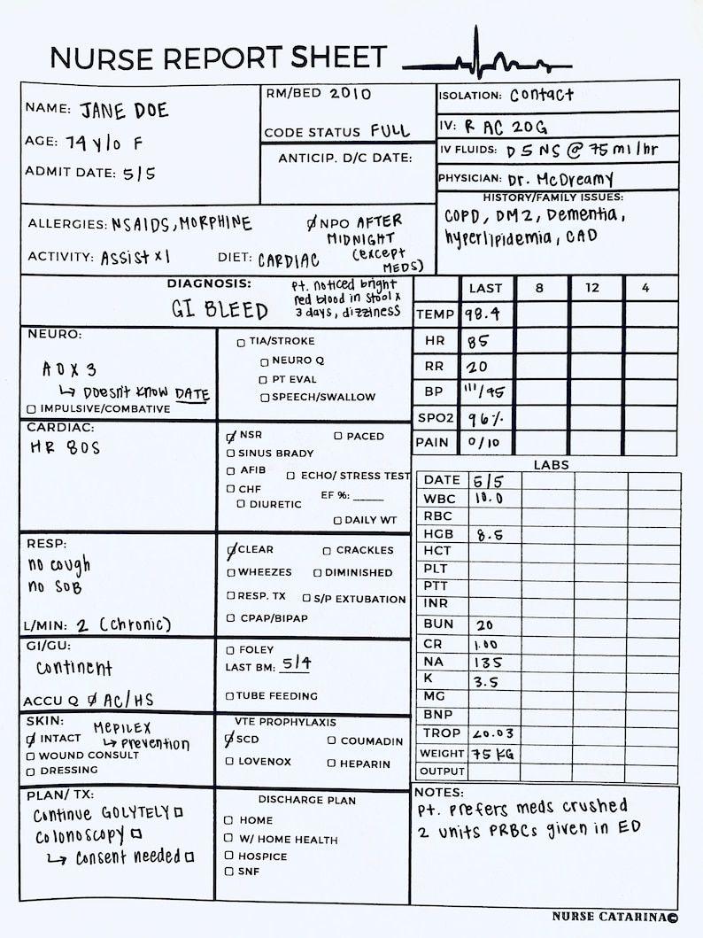 Nurse Report Sheet