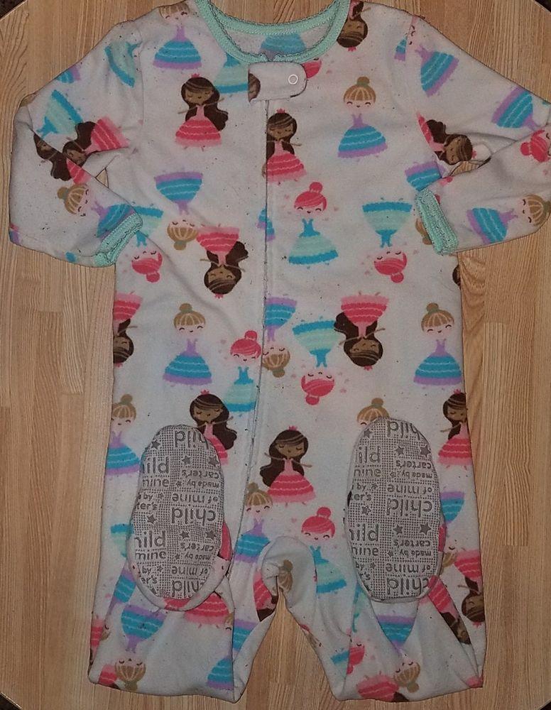 3e0c94cfec52 Carters 18 Month Girl Princess Fleece Footie Pajama GUC  fashion ...