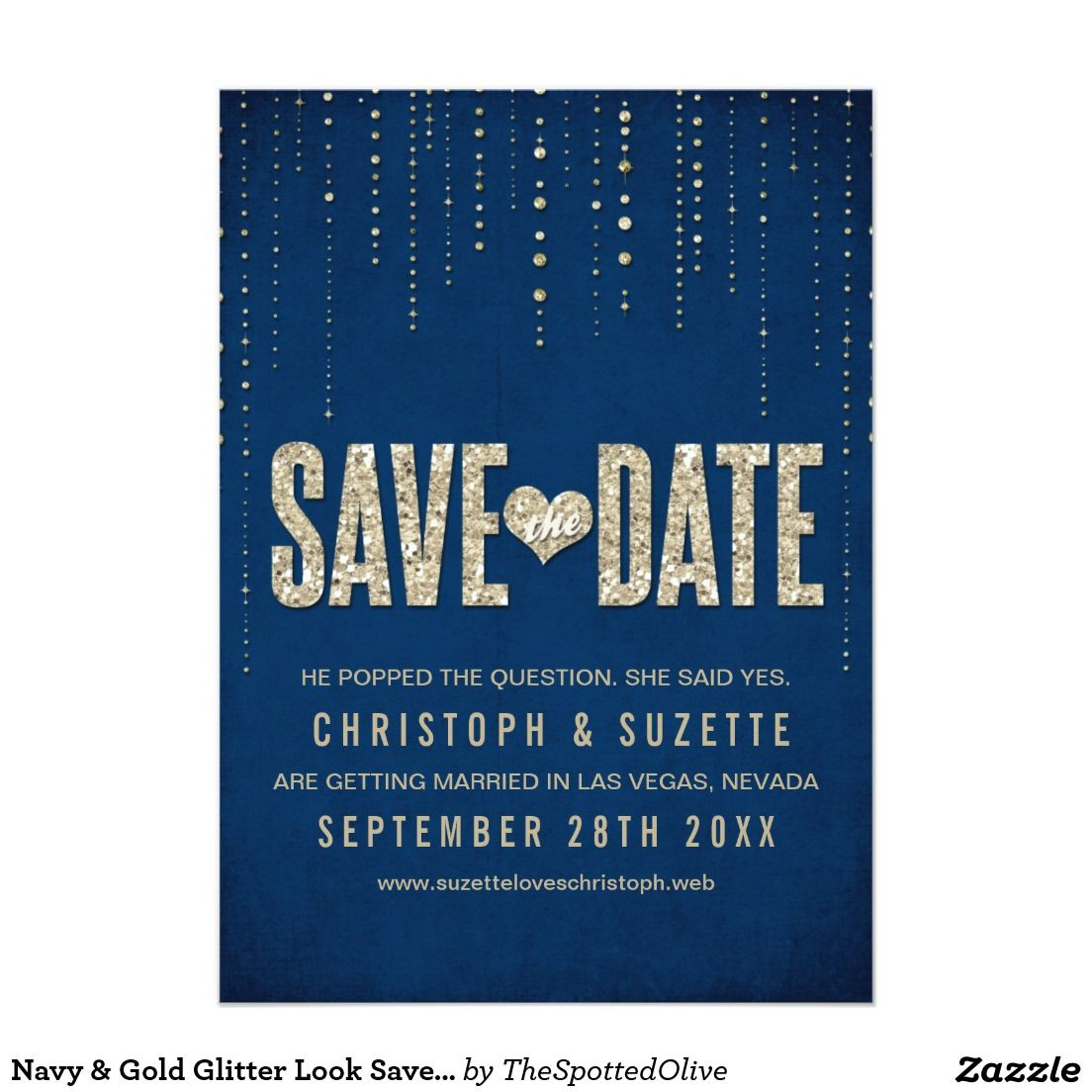 Gold color cardstock paper 5x7 - Navy Gold Glitter Look Save The Dates 5x7 Paper Invitation Card