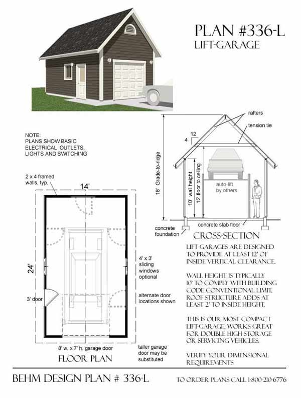 1 car lift garage plan no 336 l by behm design 14 39 x 24