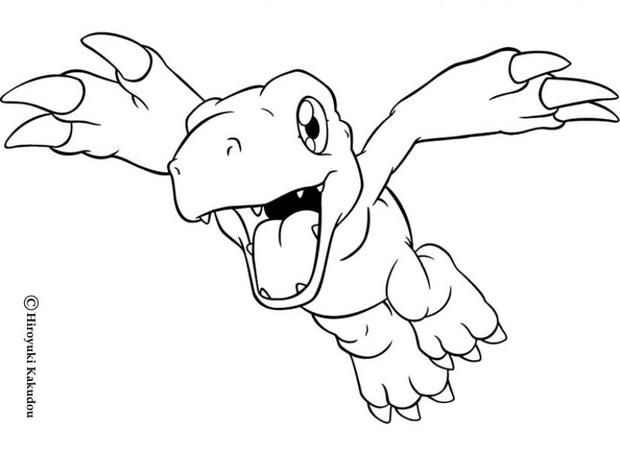 Agumon flying coloring page. More Digimon coloring sheets on ...