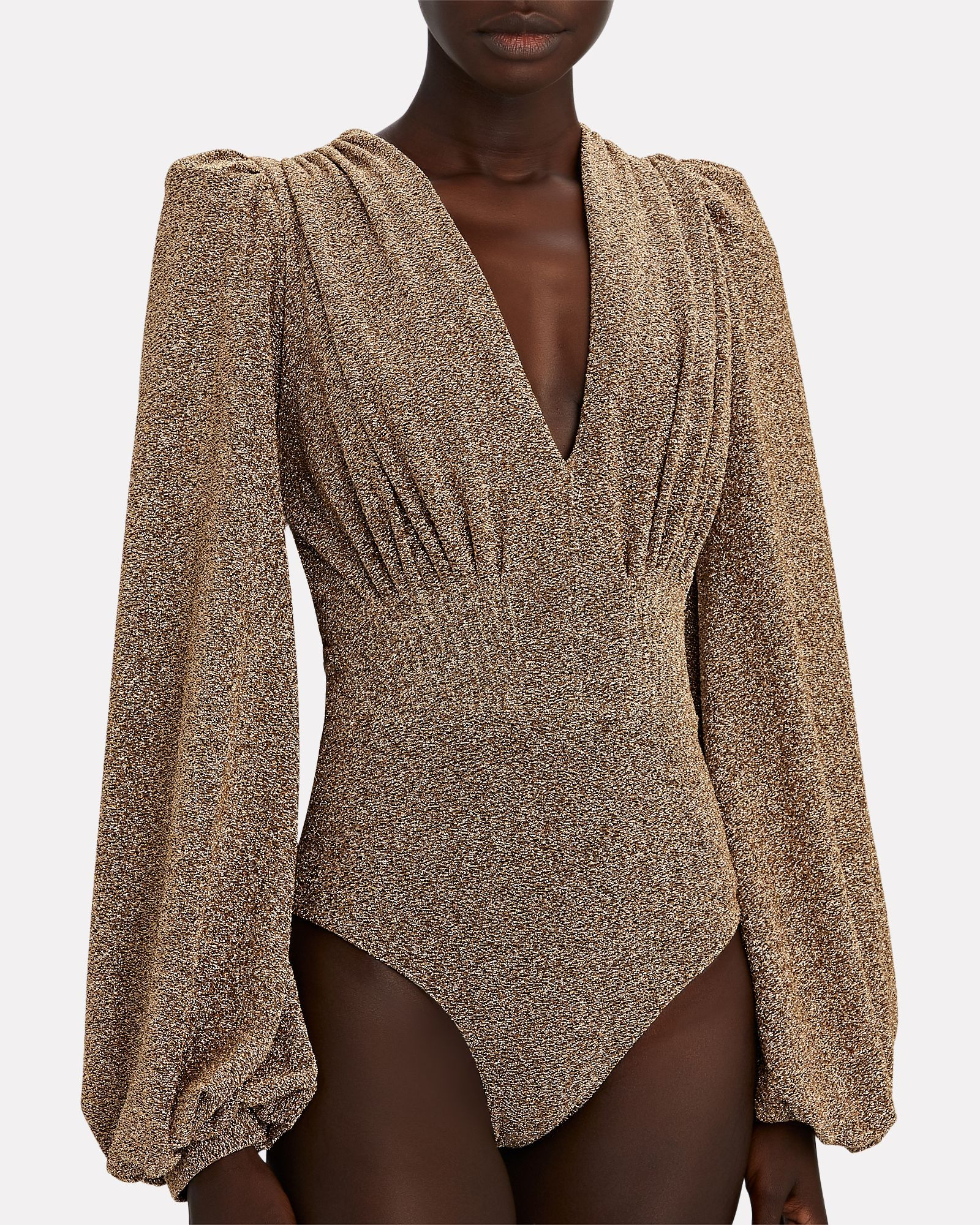 One shoulder lurex knit bodysuit with balloon sleeve