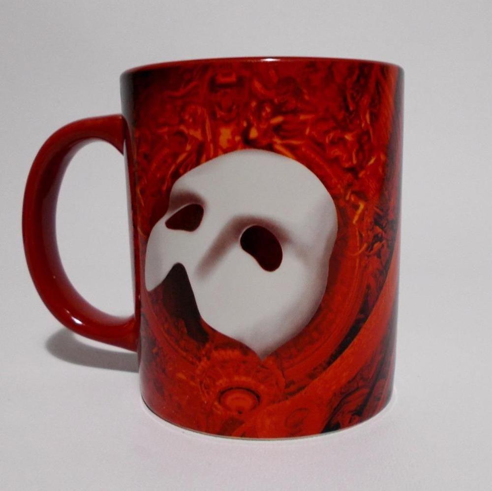 Phantom of the Opera Mug Red Coffee Cup White Mask #Unbranded