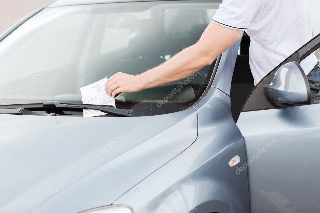 Parking ticket on car windscreen stock photo aff