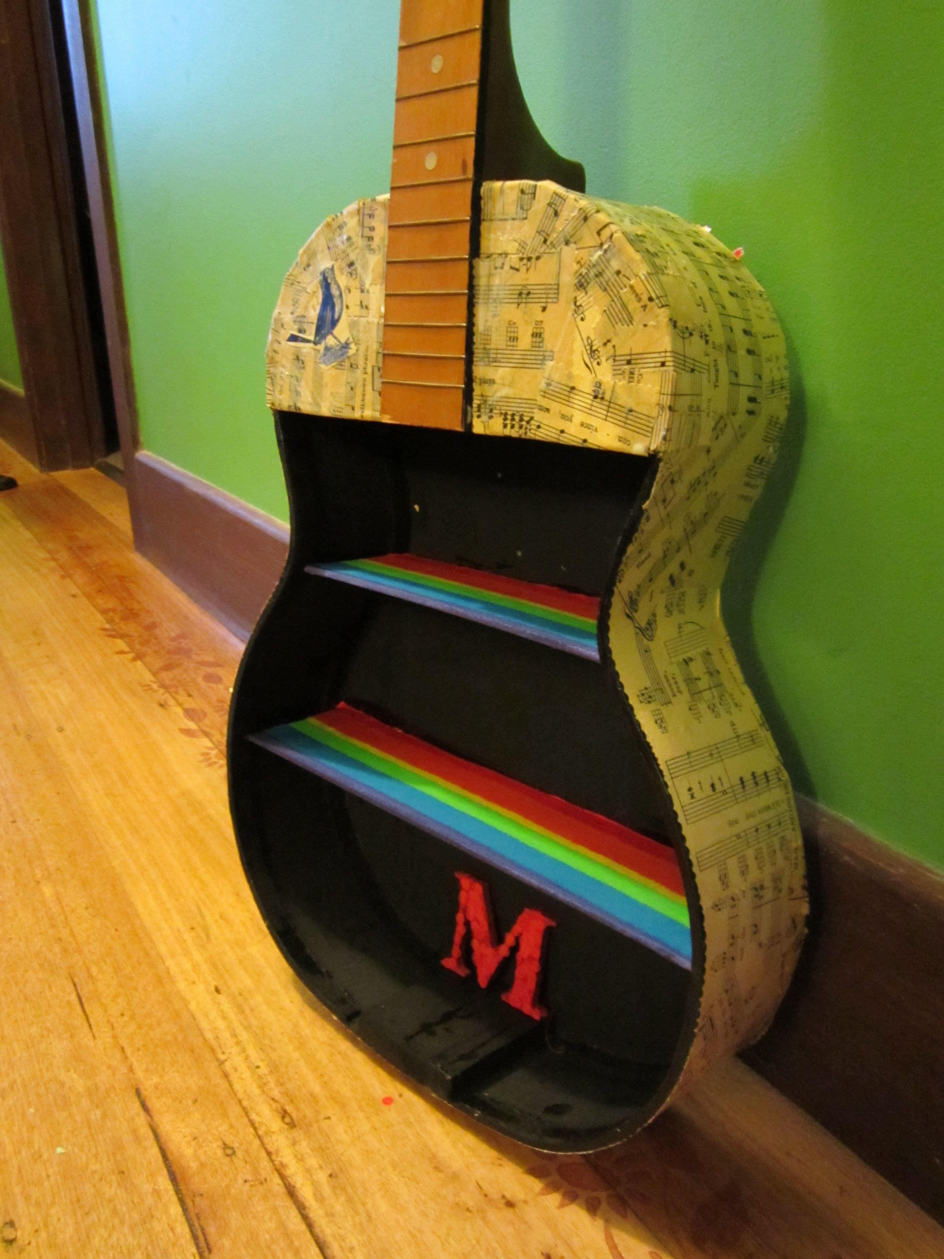 Guitar Shelf, Modge Podge Old Music Sheet To Outside Of